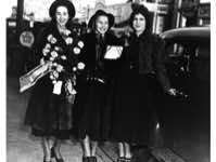 Rosemary Deveson and Patricia Meyers with their teacher June Roper; Deveson and Meyers are about to leave Vancouver to join de Basil's Ballets Russes, 1936